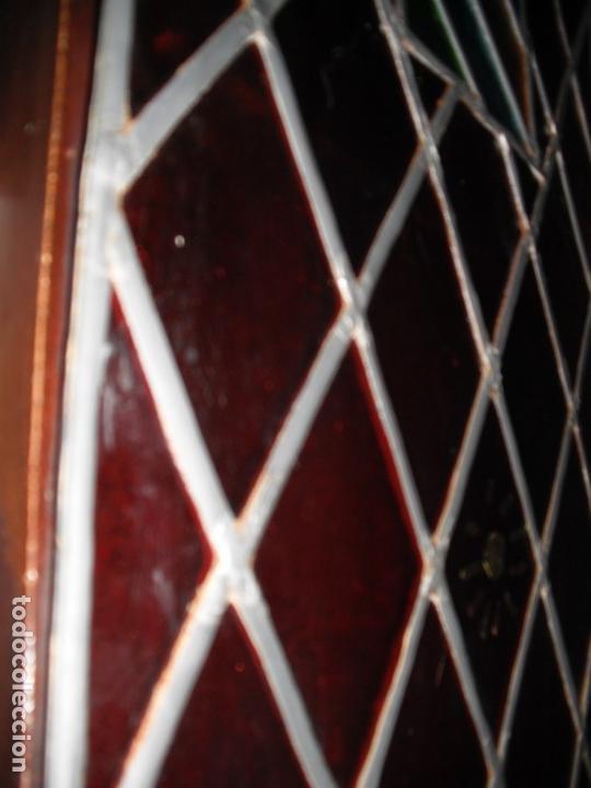 Antigüedades: Antigua vidriera emplomada con escudo. Medida: 35 x 1,43 cms. - Foto 3 - 38852580