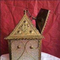 Antigüedades: FAROL ANTIGUO REALIZADO EN CHAPA DORADA ,IDEAL DECORACIÓN. Lote 132949322