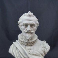 Antigüedades: BUSTO DE MIGUEL DE CERVANTES PORCELANA SUREDA. Lote 130250126