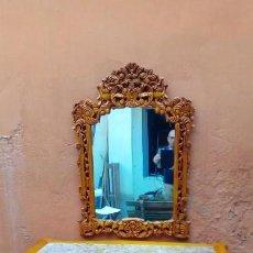 Antigüedades: CONSOLA Y ESPEJO TALLADOS A MANO-. Lote 132987890