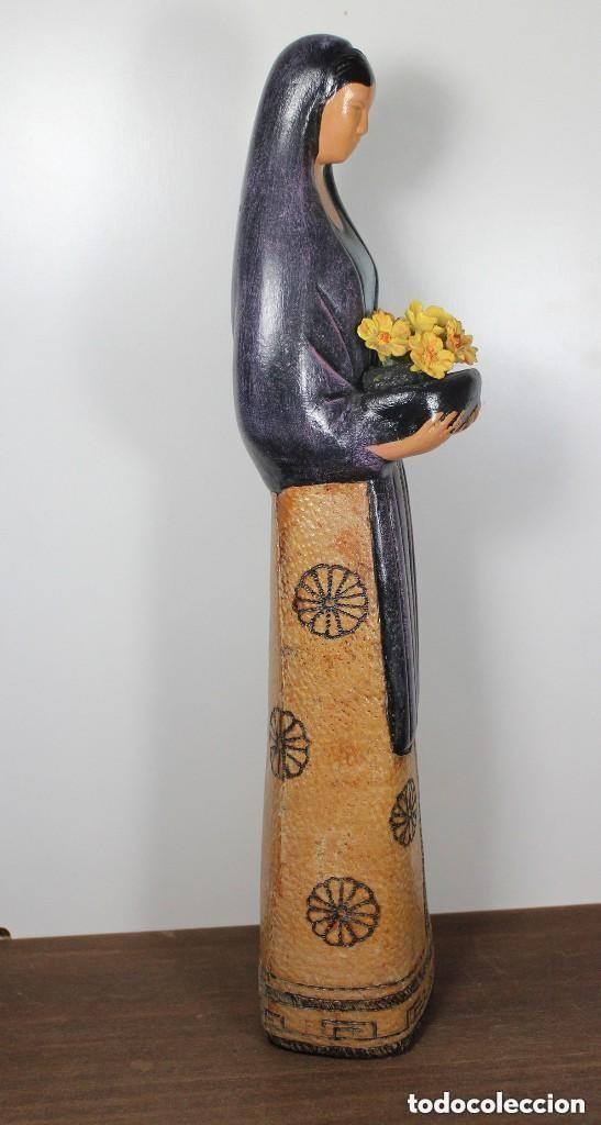 Antigüedades: Figura de cerámica - Mujer con flores - Foto 4 - 133008338