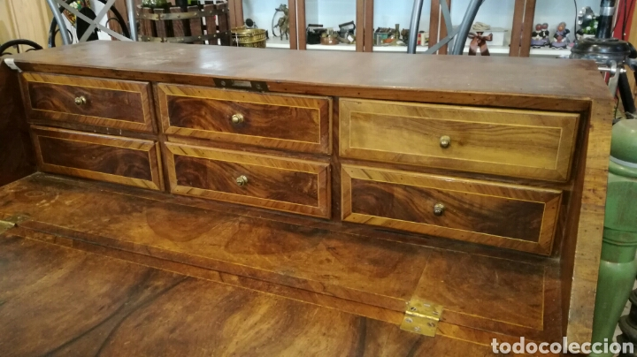 Antigüedades: Comoda escritorio con secreter de nogal siglo XVIII - Foto 3 - 133022665