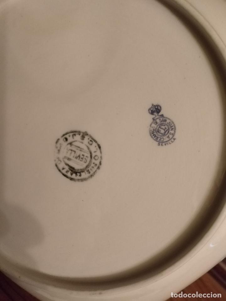 Antigüedades: GRAN BOL ENSALADERA CUADRADA CON FORMAS - ceramica porcelana opaca sello san juan - tipo pickman - Foto 8 - 133058554