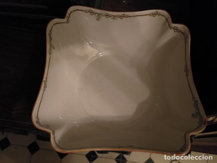 Antigüedades: GRAN BOL ENSALADERA CUADRADA CON FORMAS - ceramica porcelana opaca sello san juan - tipo pickman - Foto 9 - 133058554