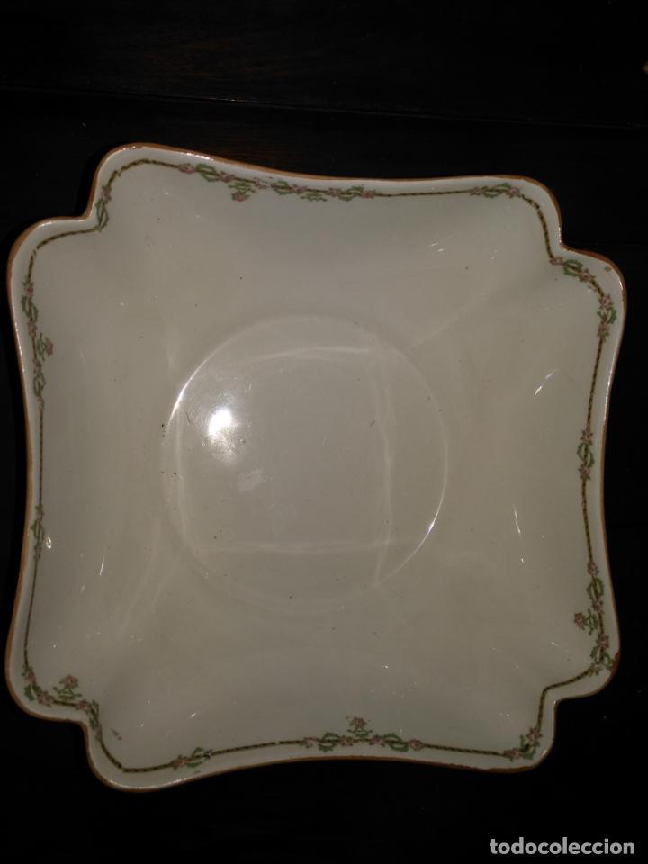 Antigüedades: GRAN BOL ENSALADERA CUADRADA CON FORMAS - ceramica porcelana opaca sello san juan - tipo pickman - Foto 10 - 133058554