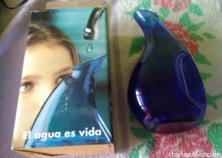 Antigüedades: Bonita jarra jarrón azul cristal - Foto 3 - 133066081