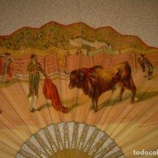 Antigüedades: ANTIGUO ABANICO DE MADERA Y PAPEL...GRANDES DIENSIONES...CERRADO..40,50 CM.. Lote 133105838