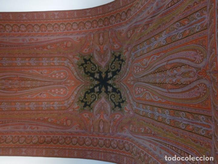 Antigüedades: ANTIGUO MANTÓN ALFOMBRADO DE CACHEMIR - S.XIX - Foto 3 - 133144446
