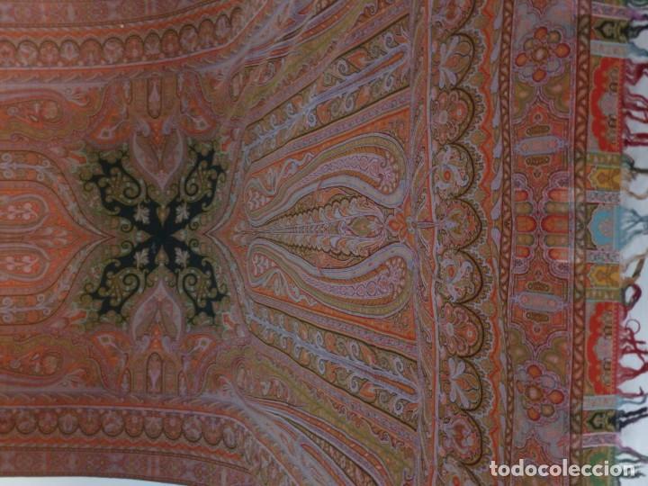 Antigüedades: ANTIGUO MANTÓN ALFOMBRADO DE CACHEMIR - S.XIX - Foto 6 - 133144446