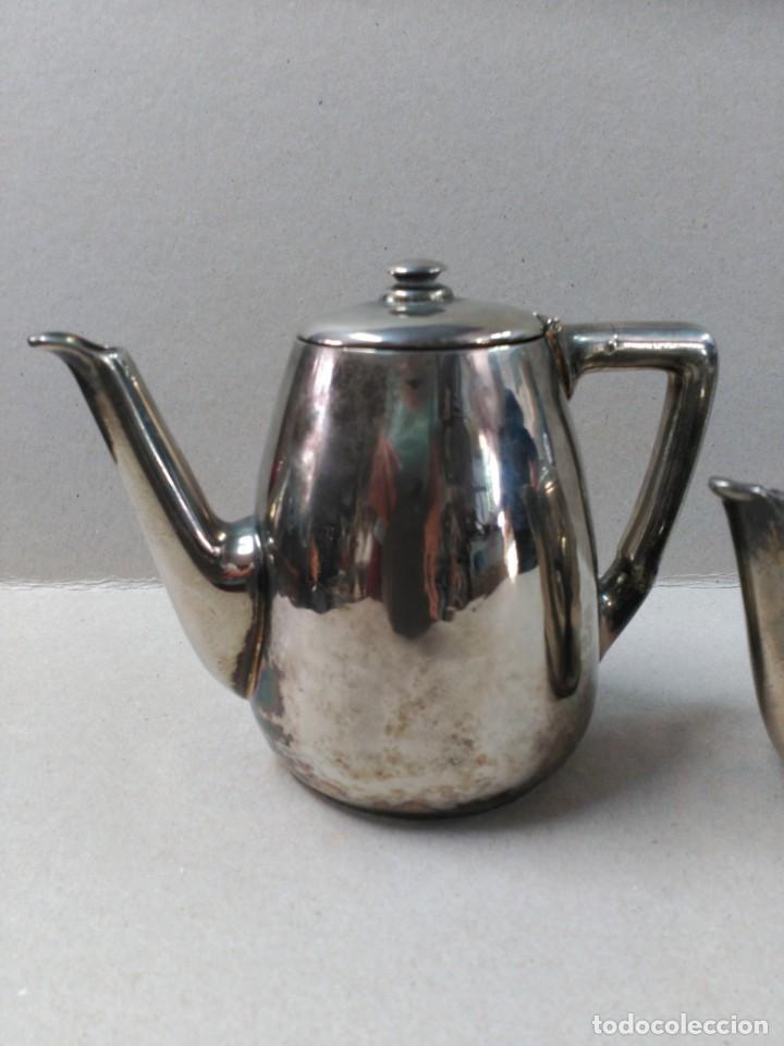 Antigüedades: JUEGO DE CAFE / TE METAL PLATEADO 3 PIEZAS - Foto 2 - 133147642