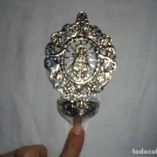 Antigüedades: ANTIGUA BENDITERA DE ALPACA PLATEADA VIRGEN DE COVADONGA. Lote 133153694
