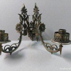 Antigüedades: APLIQUE DE PARED EN BRONCE, 2 LUCES, BRAZOS MOVIBLES. Lote 133154710