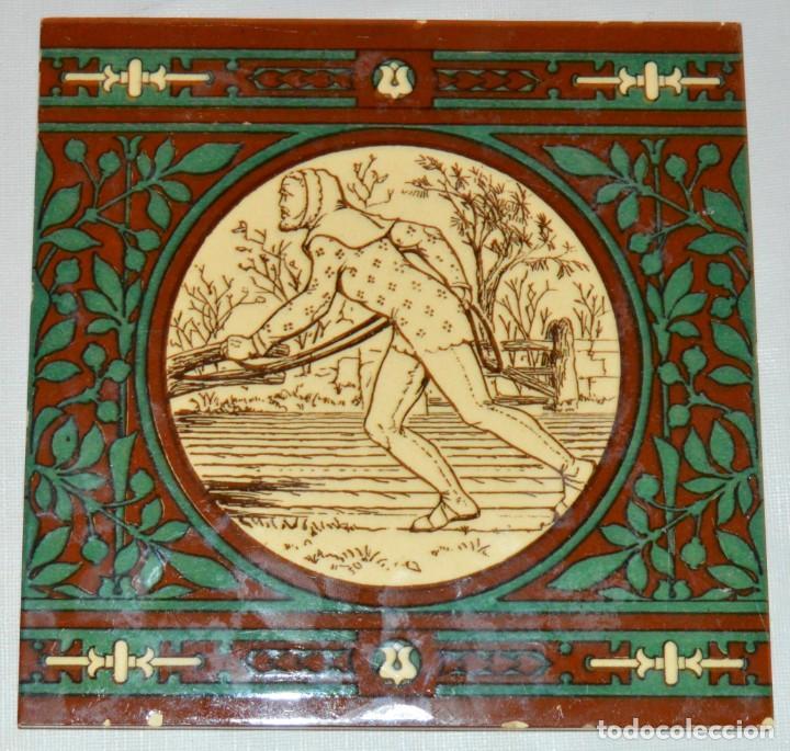JOHN MOYR SMITH - AZULEJO EXTRAORDINARIO - SIGLO XIX - ARTS & CRAFTS - CASA MINTON (Antigüedades - Porcelanas y Cerámicas - Azulejos)