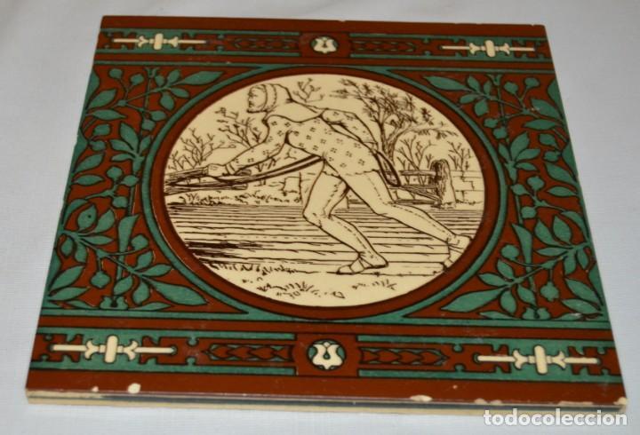 Antigüedades: JOHN MOYR SMITH - AZULEJO EXTRAORDINARIO - SIGLO XIX - ARTS & CRAFTS - CASA MINTON - Foto 4 - 133154798