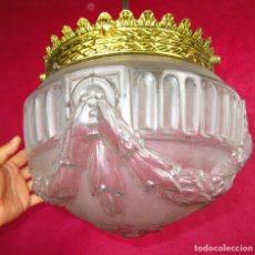 Antigüedades: GRAN LAMPARA ESTILO IMPERIO CIRCA 1920 BRONCE Y CRISTAL. Lote 130808588