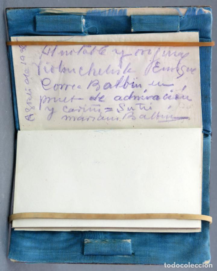 Antigüedades: Agenda francesa con calendario tapas con incrustaciones de nacar hacia 1910 - Foto 3 - 133187866
