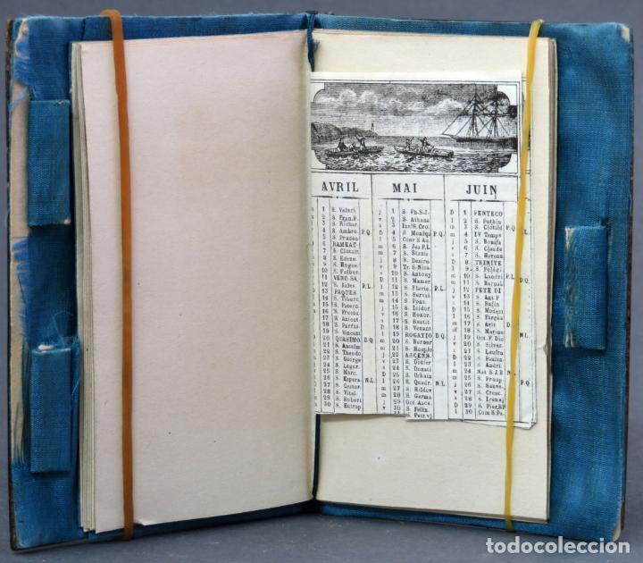Antigüedades: Agenda francesa con calendario tapas con incrustaciones de nacar hacia 1910 - Foto 4 - 133187866