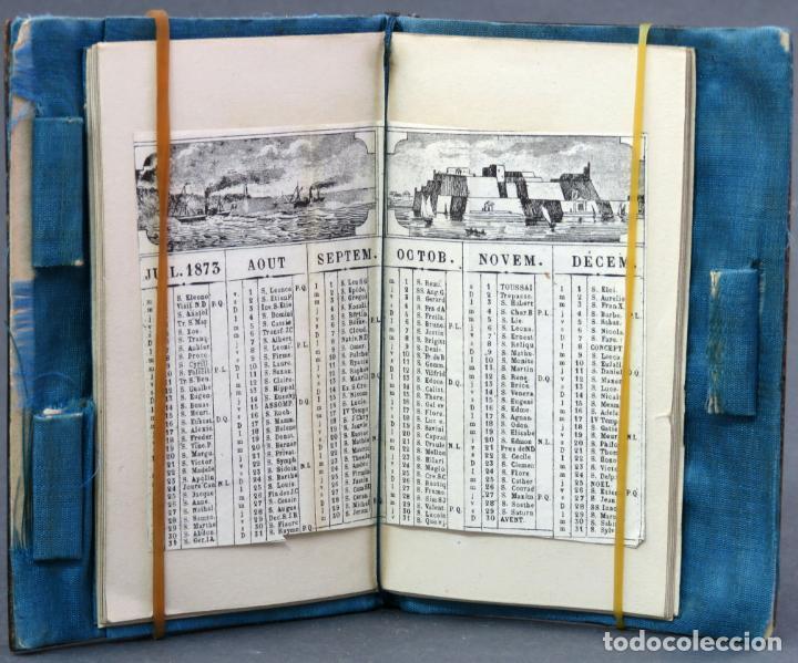 Antigüedades: Agenda francesa con calendario tapas con incrustaciones de nacar hacia 1910 - Foto 5 - 133187866