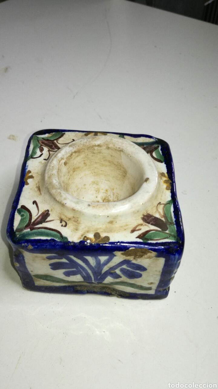 Antigüedades: Tintero de cerámica de talavera - Foto 2 - 133231615