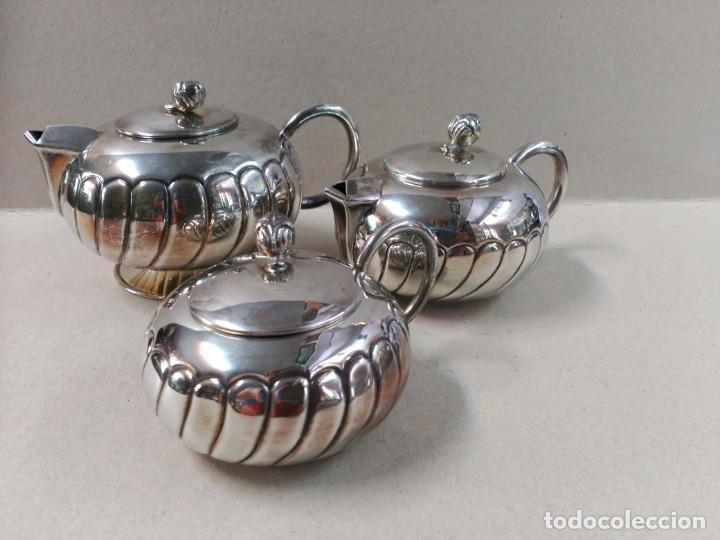 JUEGO DE CAFE / TE EN ALPACA METAL PLATEADO (Antigüedades - Platería - Bañado en Plata Antiguo)