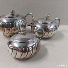 Antigüedades: JUEGO DE CAFE / TE EN ALPACA METAL PLATEADO. Lote 133241958