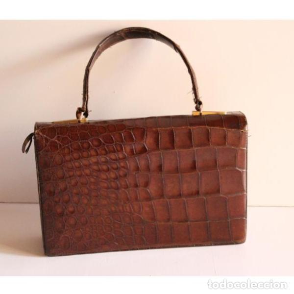 Antigüedades: Antiguo bolso de piel de cocodrilo - Foto 5 - 133244410
