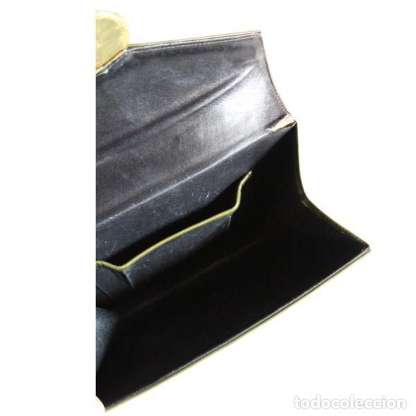 Antigüedades: Antiguo bolso de piel color verde - Foto 4 - 133249842