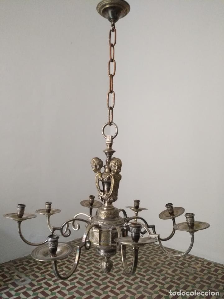 MUY GRANDE LAMPARA ARAÑA 8 BRAZOS BRONCE MACIZO BAÑO PLATA 3 ESCULTURAS ANGELES O NIÑOS JESUS - LEE (Antigüedades - Iluminación - Lámparas Antiguas)