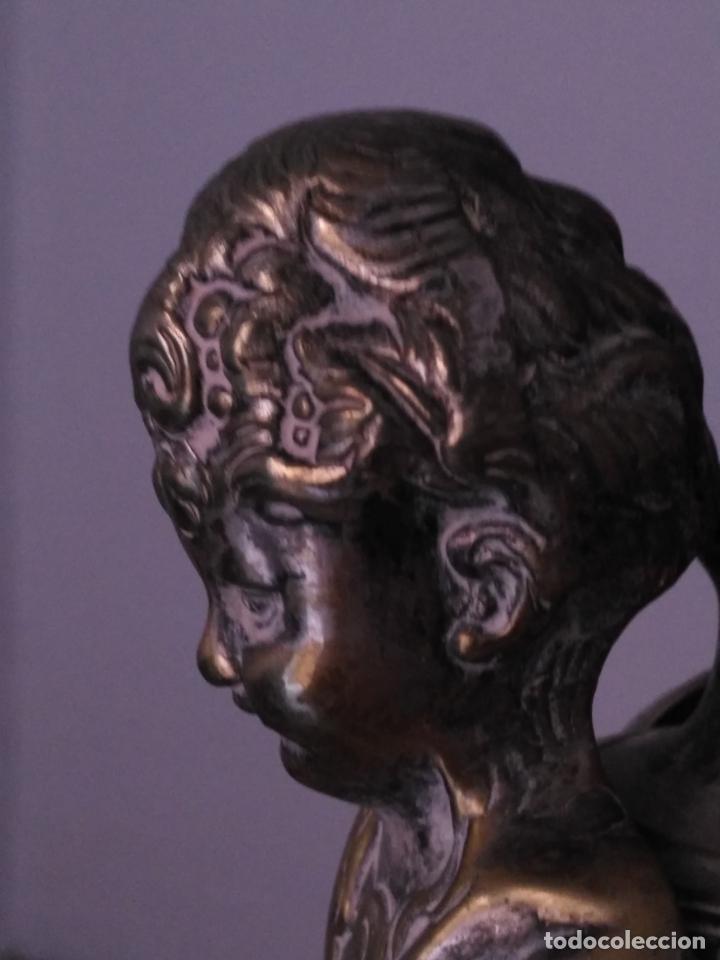 Antigüedades: muy grande lampara araña 8 brazos bronce macizo baño plata 3 esculturas angeles o niños jesus - lee - Foto 9 - 133251570