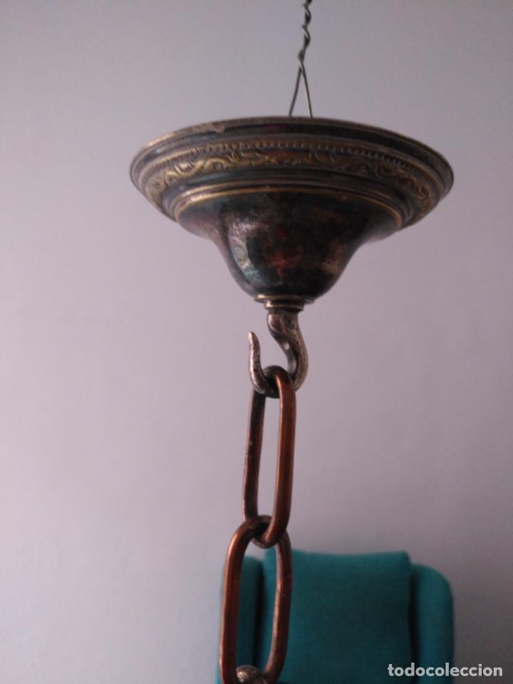 Antigüedades: muy grande lampara araña 8 brazos bronce macizo baño plata 3 esculturas angeles o niños jesus - lee - Foto 25 - 133251570