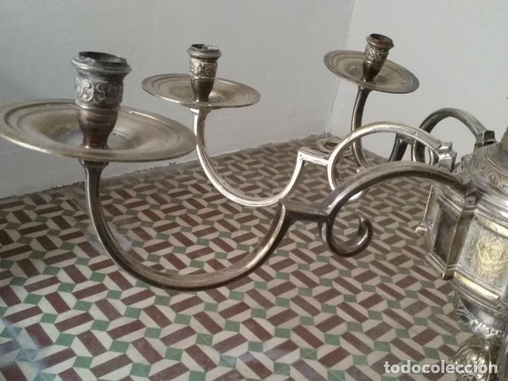 Antigüedades: muy grande lampara araña 8 brazos bronce macizo baño plata 3 esculturas angeles o niños jesus - lee - Foto 30 - 133251570