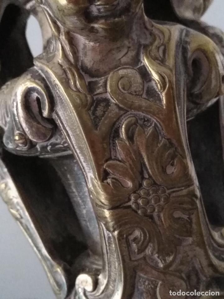 Antigüedades: muy grande lampara araña 8 brazos bronce macizo baño plata 3 esculturas angeles o niños jesus - lee - Foto 32 - 133251570