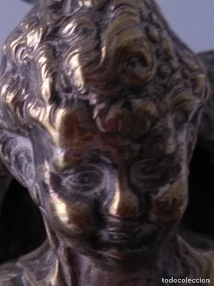 Antigüedades: muy grande lampara araña 8 brazos bronce macizo baño plata 3 esculturas angeles o niños jesus - lee - Foto 33 - 133251570
