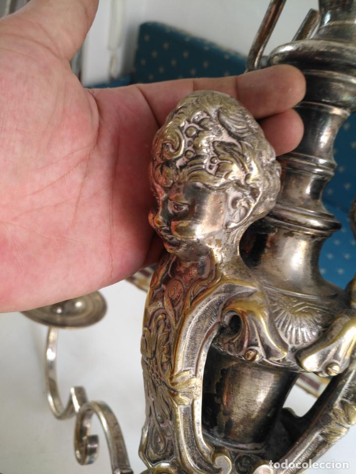 Antigüedades: muy grande lampara araña 8 brazos bronce macizo baño plata 3 esculturas angeles o niños jesus - lee - Foto 40 - 133251570
