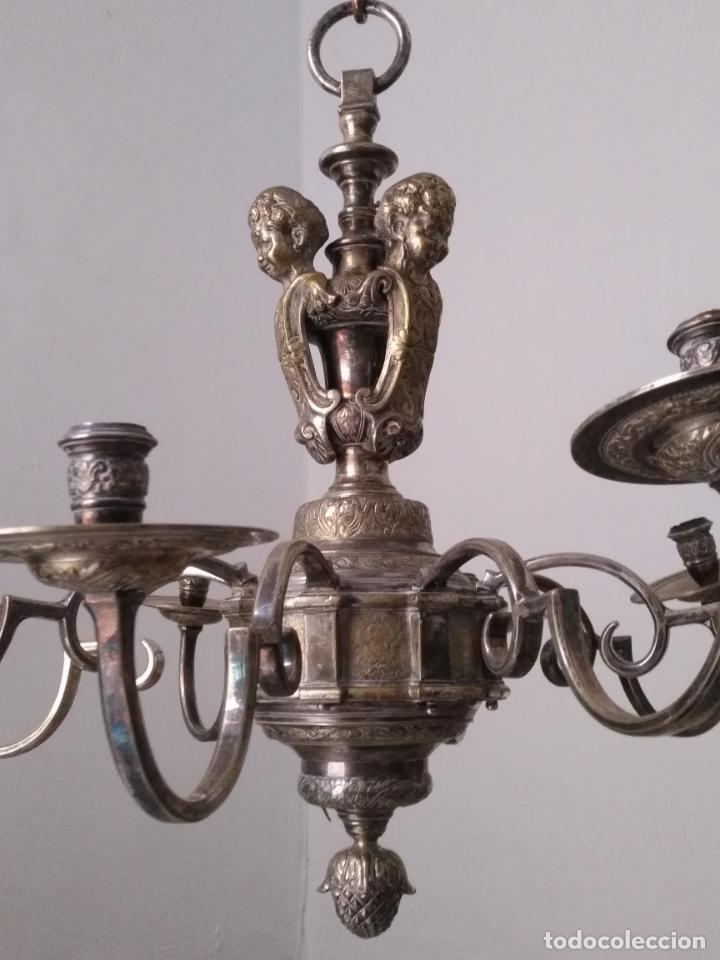 Antigüedades: muy grande lampara araña 8 brazos bronce macizo baño plata 3 esculturas angeles o niños jesus - lee - Foto 43 - 133251570