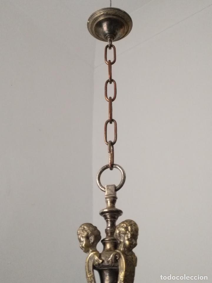 Antigüedades: muy grande lampara araña 8 brazos bronce macizo baño plata 3 esculturas angeles o niños jesus - lee - Foto 48 - 133251570
