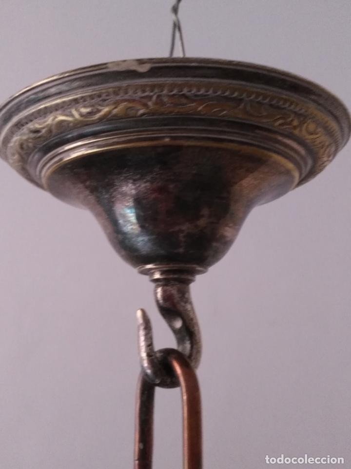 Antigüedades: muy grande lampara araña 8 brazos bronce macizo baño plata 3 esculturas angeles o niños jesus - lee - Foto 49 - 133251570