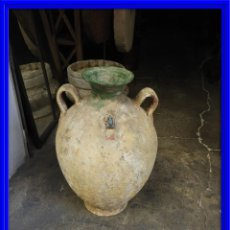 Antigüedades: ORZA DE BARRO CON DOS ASAS Y EXTREMO SUPERIOR VIDRIADO . Lote 133254726