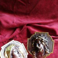 Antigüedades: IMAGEN EN METAL DE CRISTO Y VIRGEN PARA SOBREMESA. Lote 133306662