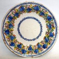 Antigüedades: ANTIGUO PLATO DE RIBESALBES DEL SIGLO XIX. MARCAS EN LA BASE. MANISES. Lote 133307946