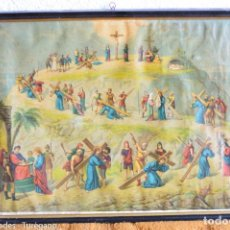Antigüedades: CUADRO CON LÁMINA A COLOR DE VÍA CRUCIS - ESCENA RELIGIOSA, CRISTO CON LA CRUZ, CRUCIFIXIÓN. Lote 133309078