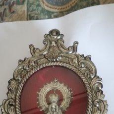 Antigüedades: ANTIGUO RELICARIO DE METAL PLATEADO. Lote 133309886