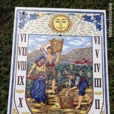 Antigüedades - Azulejo ceramico esmaltado Furio reloj de sol , reloj solar, imagenes vendimia, preciosa pieza - 133315318