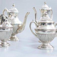 Antigüedades: SERVICIO DE TE Y CAFE EN PLATA LEY MARCADO CON CONTRASTE. Lote 133317322