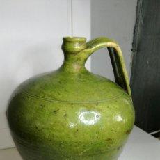 Antigüedades: CÁNTARO DE BARRO VIDRIADO EN VERDE J M. Lote 133318387