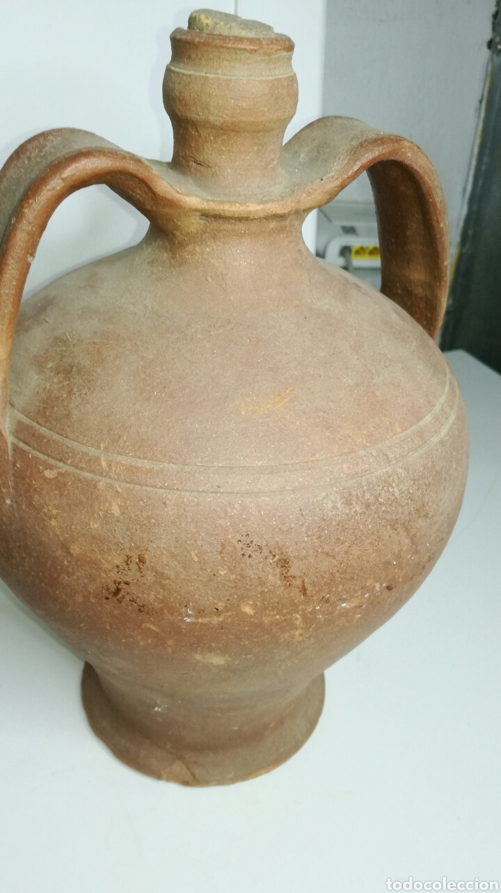BOTIJA DE SEGADOR DONDE LLEVABAN EL AGUA. J M (Antigüedades - Porcelanas y Cerámicas - Otras)