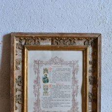 Antigüedades: ANTIGUO CUADRO CON TEXTO RELIGIOSO PARA AGUA BENDITA - SACRA, MARCO DORADO. Lote 133320202