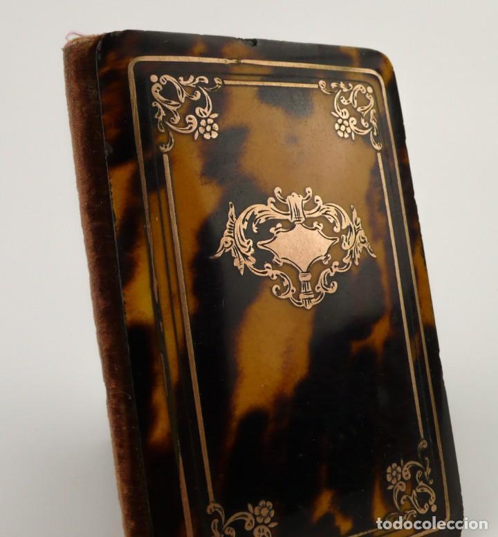 Antigüedades: Exquisito carnet de baile de carey natural y oro - Francia Siglo XIX, 1.850-Napoleón III - Foto 2 - 133342554