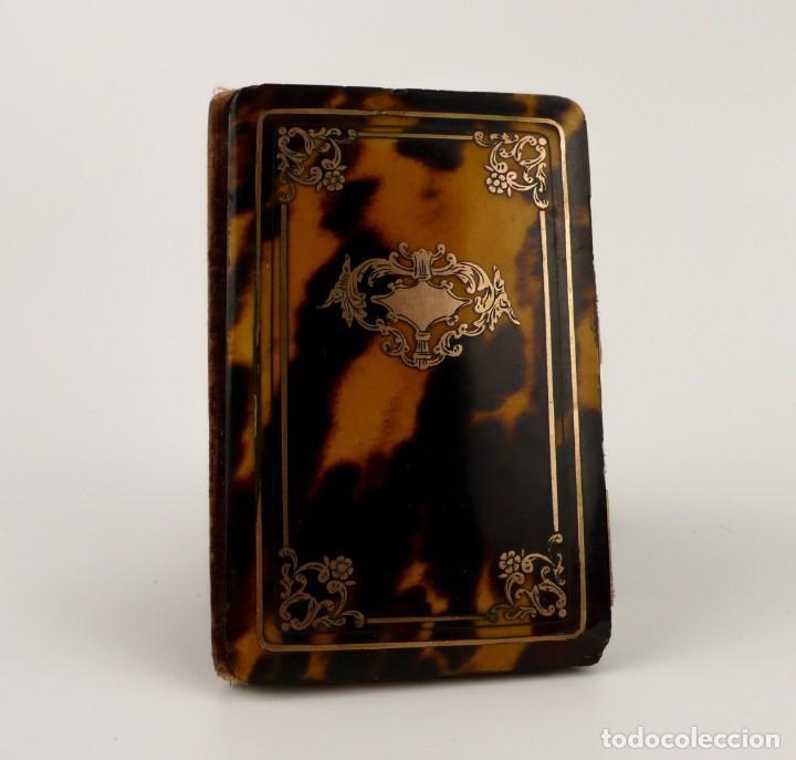 Antigüedades: Exquisito carnet de baile de carey natural y oro - Francia Siglo XIX, 1.850-Napoleón III - Foto 3 - 133342554