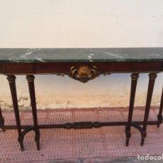 Antigüedades: CONSOLA ENTRADA MADERA Y MARMOL LOS CERTALES 1,80. Lote 163059950